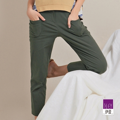 ILEY伊蕾 率性微工裝大口袋直筒長褲(綠)1212016364