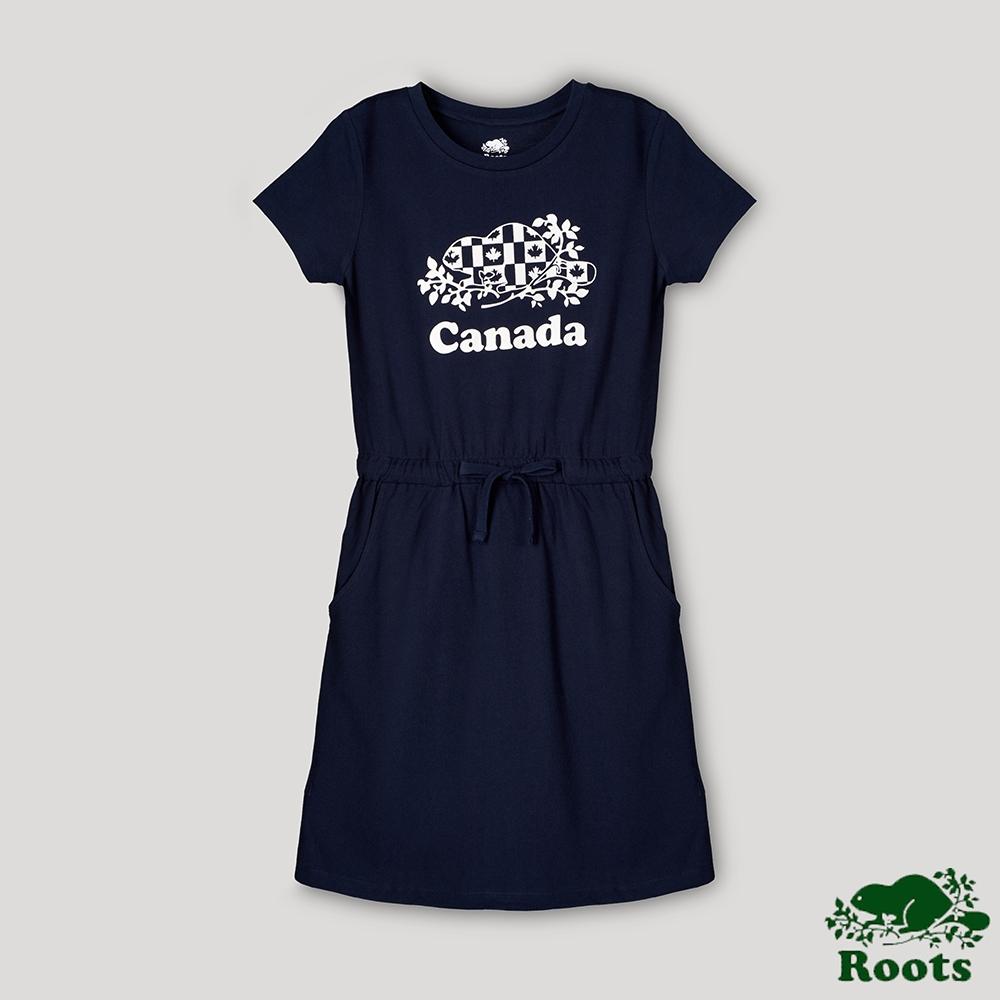 Roots女裝-愛最大加拿大日系列 國旗海狸洋裝-藍色
