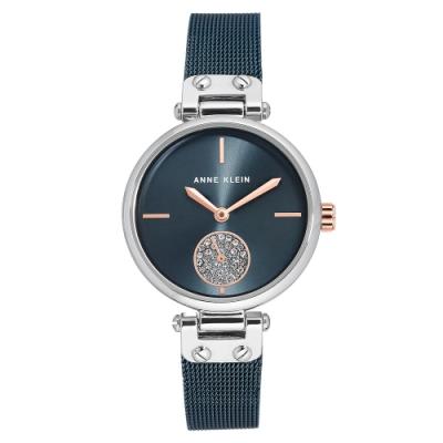 Anne Klein 典藏美學施華洛世奇水鑽小秒針絕美腕錶-墨黑x34mm