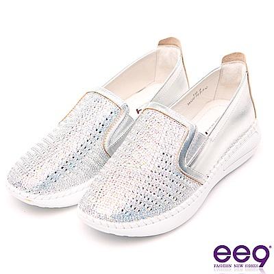 ee9 璀璨迷人鑲嵌水鑽馬克縫超輕休閒懶人鞋 銀色