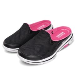 Skechers 涼拖鞋 Go Walk 5-Cakewalk 女鞋 懶人鞋 好穿脫 輕量 透氣 避震 黑 粉 124023BKHP