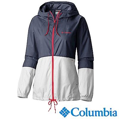 Columbia 哥倫比亞 女款-防潑風衣連帽外套-深藍 UKR30100NY