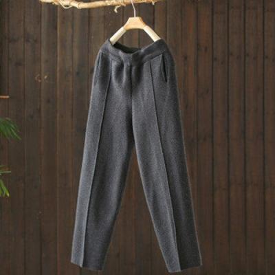 軟糯柔滑素色垂墜質感針織寬鬆毛呢長褲-設計所在