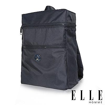 福利品 ELLE 巴黎輕旅商務雙層拉鍊大容量後背包-深藍色