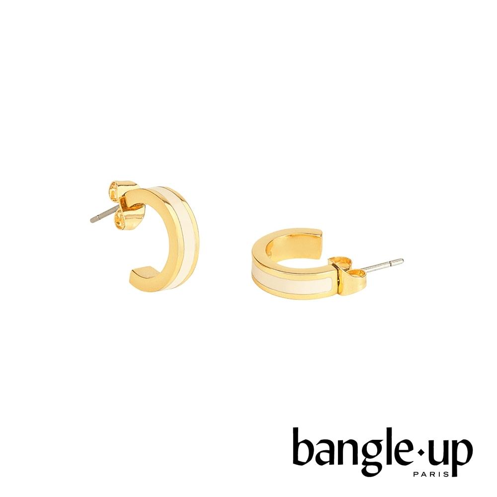BANGLE UP 復古經典琺瑯鍍金迷你耳環 -質感白