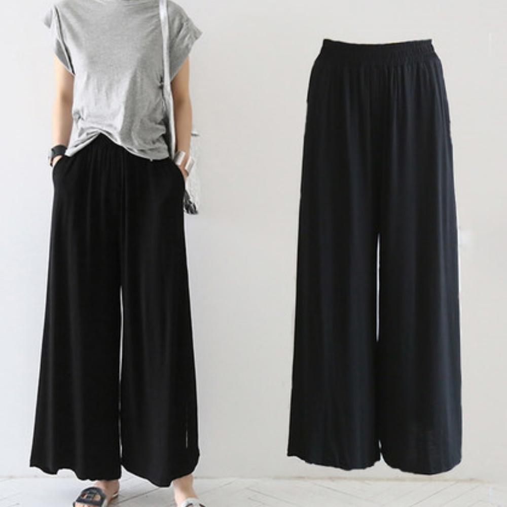 La Belleza黑色鬆緊腰側口袋棉質闊腿褲寬管褲