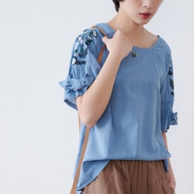 慢 生活 繡花袖口打結造型上衣- 藍色