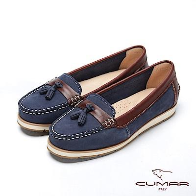 CUMAR簡約步調 -百搭不敗款真皮流蘇莫卡辛休閒鞋
