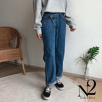 下著 韓國斜口造型設計男友牛仔褲 (藍) N2