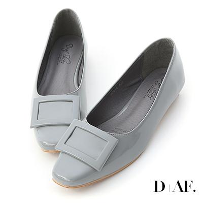 D+AF 質感典藏.大方釦漆皮方頭娃娃鞋*灰