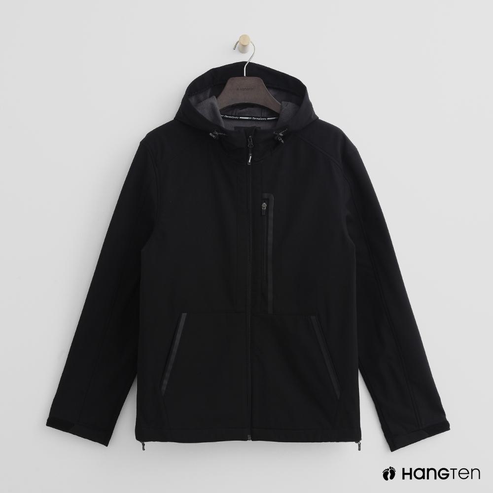 Hang Ten - 男裝 - ThermoContro-抽繩立領連帽外套 - 黑