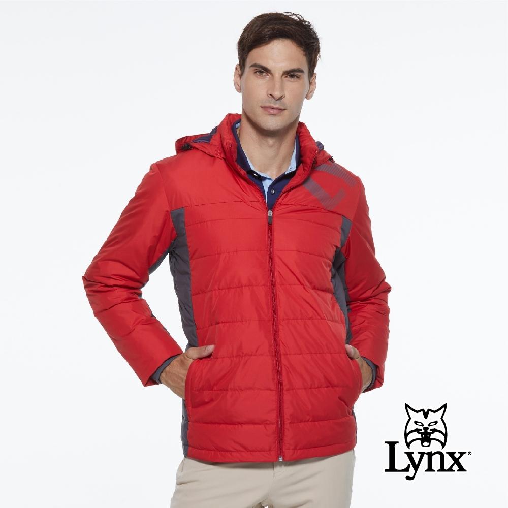 【Lynx Golf】男款防潑水防風保暖科技羽絨Lynx印花連帽可拆式長袖外套-紅色