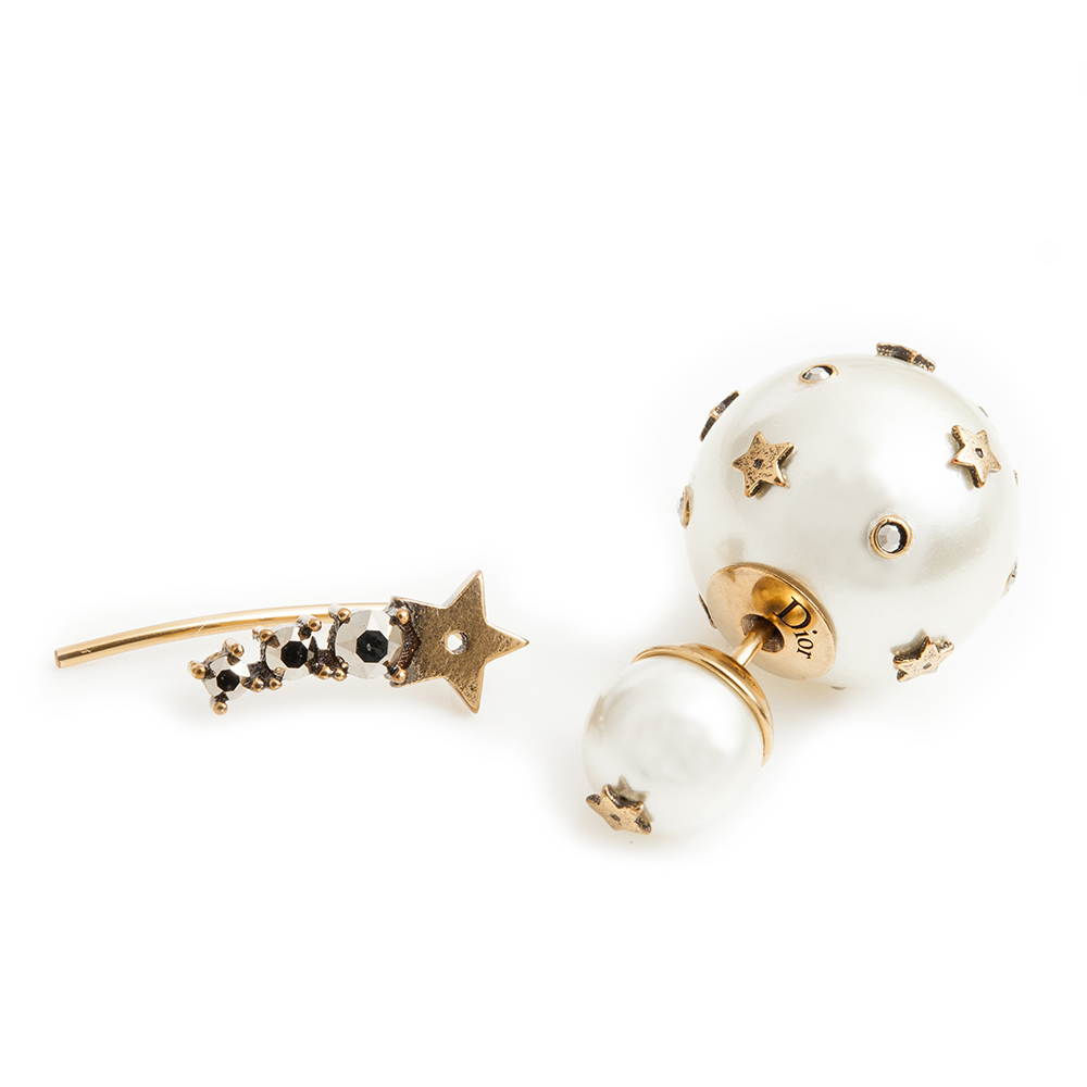 Dior Tribales 復古金屬白色圓珠金色光澤水晶圓珠流星不對稱穿式耳環