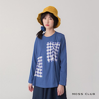 MOSS CLUB 格紋拼接口袋設計-上衣(藍色)