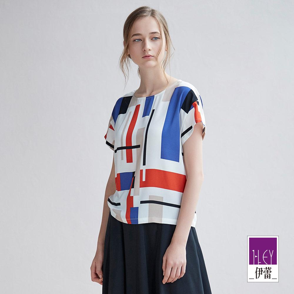 ILEY伊蕾 簡約幾何雪紡短版上衣(白)