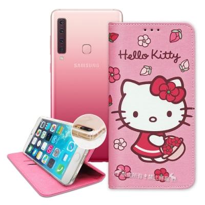 三麗鷗授權 Hello Kitty Samsung A9 2018 櫻花吊繩款彩繪側掀皮套