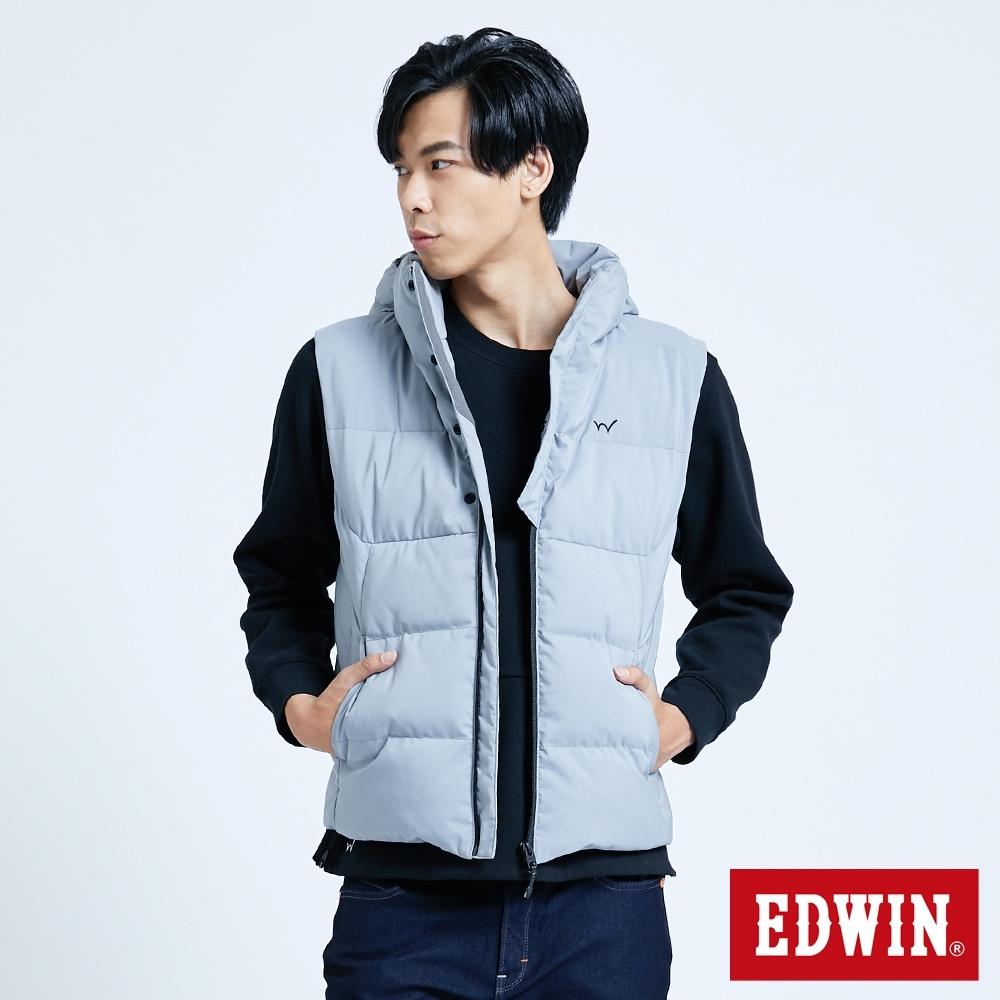 EDWIN EFS 機織可拆帽 羽絨背心-男-麻灰色
