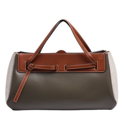 LOEWE 經典Lazo East-West Bag小牛皮拼接手提包(卡其綠_展示品)