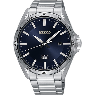 SEIKO精工 SOLAR 太陽能潮流手錶(SNE483P1)-深藍x銀/42mm
