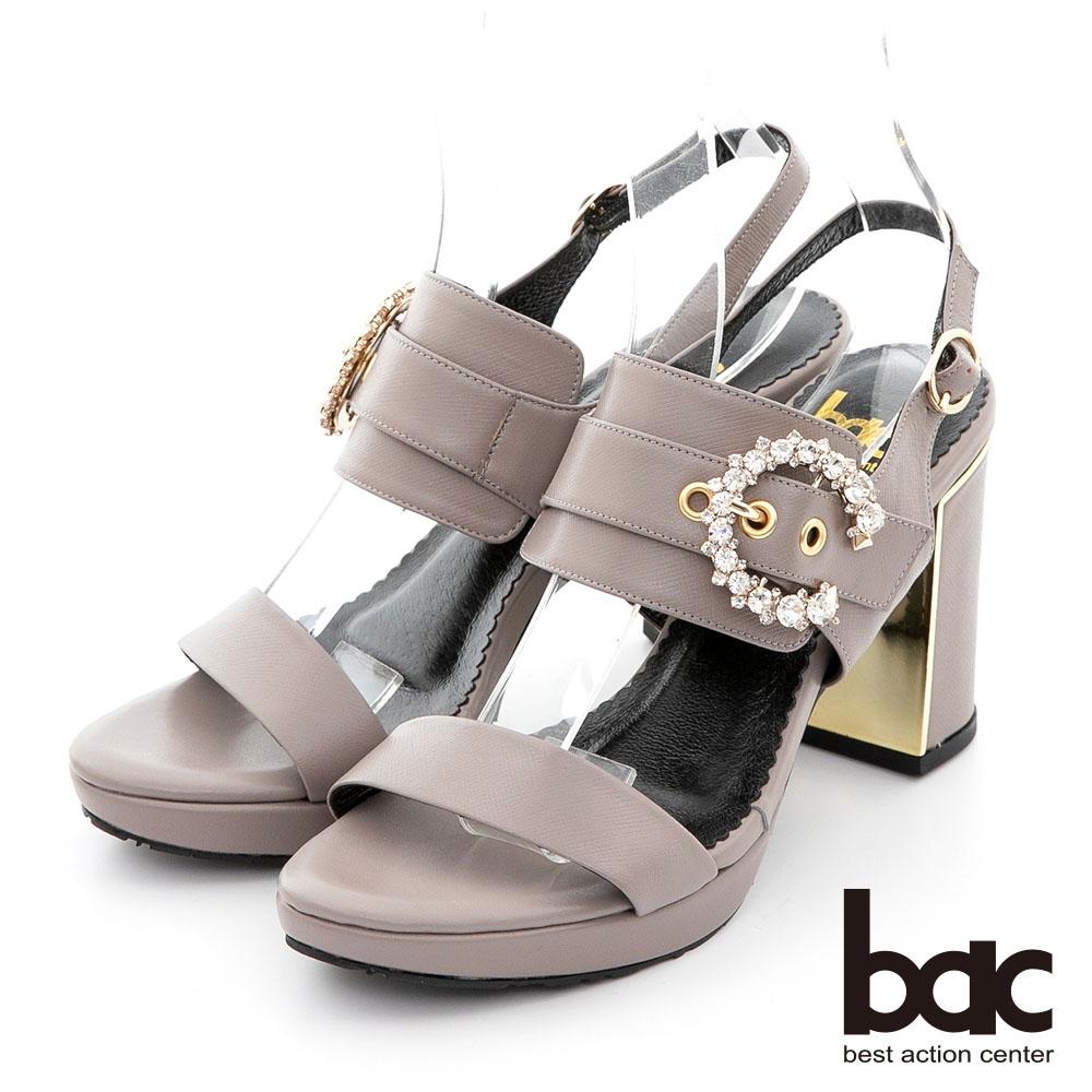 【bac】一字帶大C字鑽釦粗跟涼鞋-紫芋
