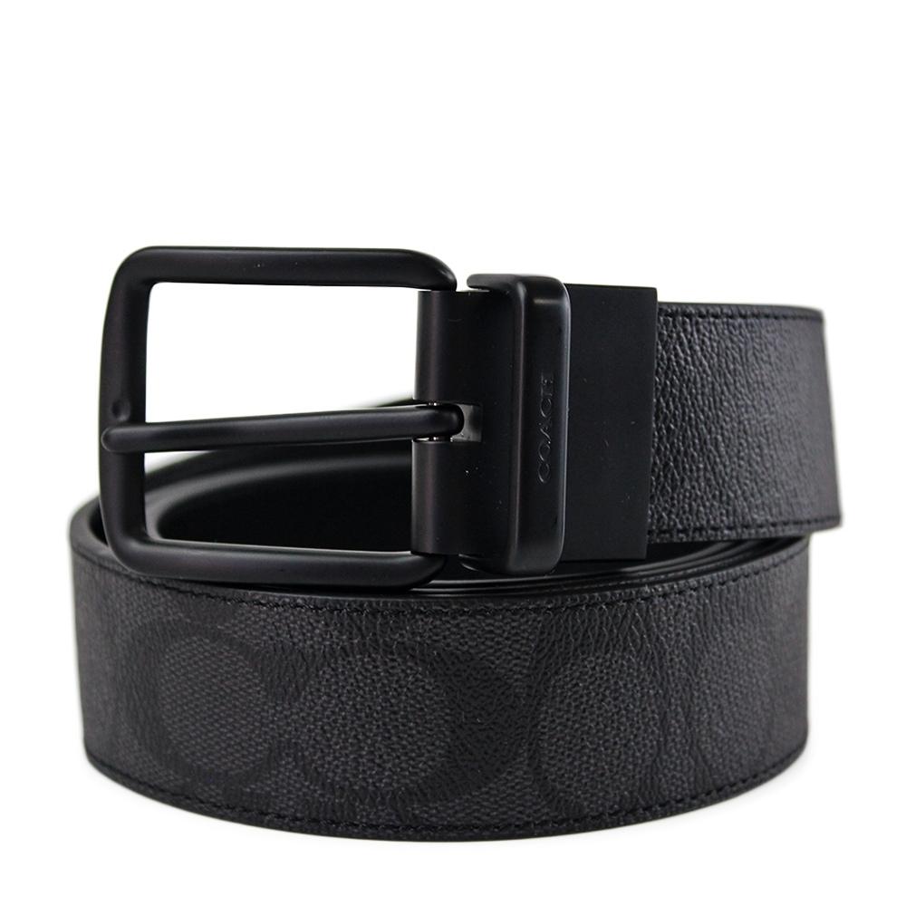 【展示出清】COACH 男款 緹花LOGO黑色扣頭雙面用寬版皮帶-灰黑色