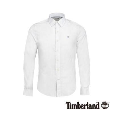 Timberland 男款緊身彈性府綢長袖襯衫|A213B