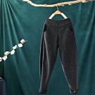 針織拼接鬆緊腰加絨寬鬆小腳蘿蔔褲哈倫褲-設計所在