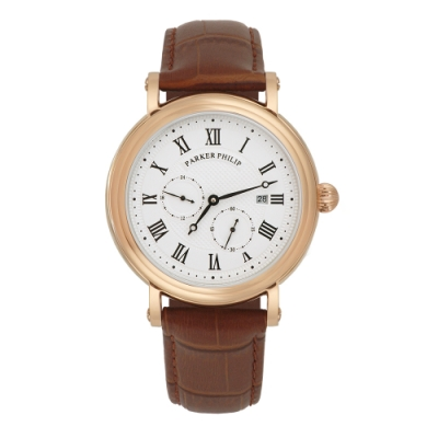 PARKER PHILIP派克菲利浦古典限量自動上鍊機械錶(玫殻/白面/咖帶)