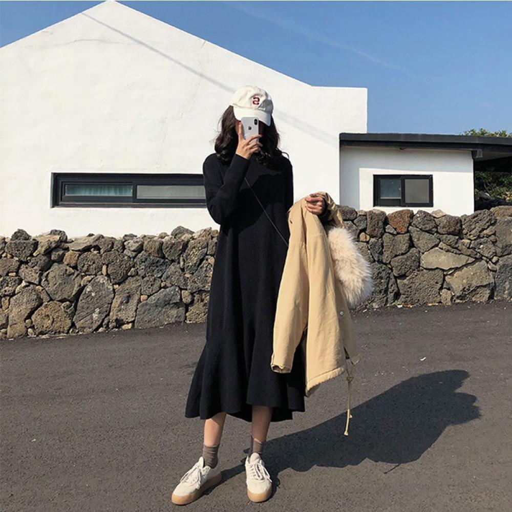 中大尺碼圓領黑色魚尾裙不規則裙擺長洋裝L~4L-Ballet Dolly @ Y!購物