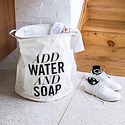 【收納職人】清新簡約英文棉麻大容量收納桶/洗衣籃/髒衣籃 (圓桶-Water)