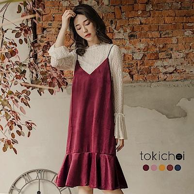 東京著衣 多色天鵝絨細肩帶魚尾洋裝-S.M(共五色)