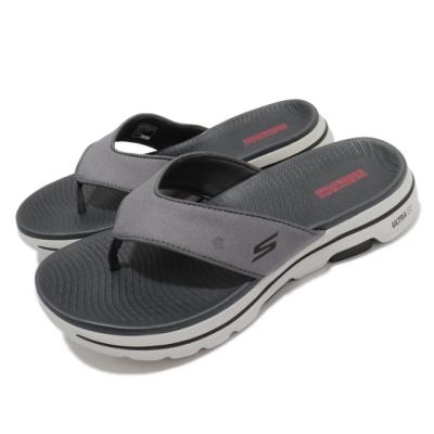 Skechers 拖鞋 Go Walk 5-Varson 男鞋 夾腳拖 穩定 支撐 避震 緩衝 柔軟 灰 米 229005CHAR