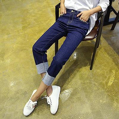 ALLK 褲管反摺直筒牛仔褲 深藍色(尺寸27-31腰)