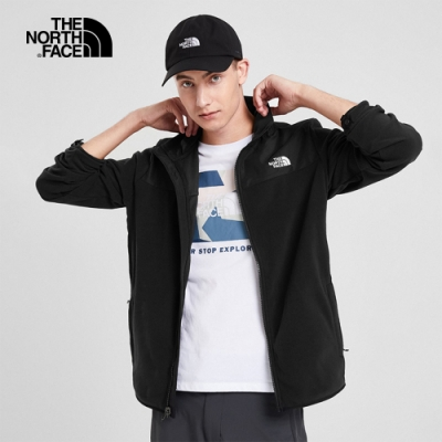 The North Face北面男款黑色保暖抓絨立領外套|49AEJK3