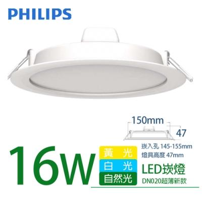 4入組【PHILIPS 飛利浦】LED薄型崁燈 16W DN020B 直徑150mm