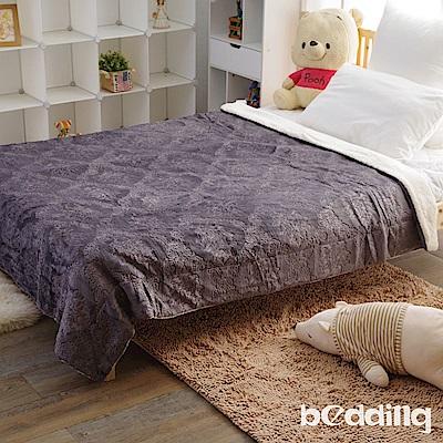 BEDDING-頂級雙面絨舒柔日式雕花毯被-復古灰