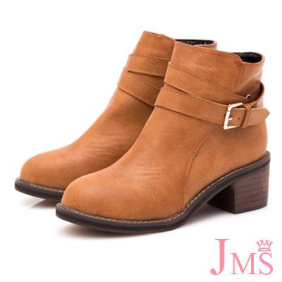 JMS-率性風格金屬側扣環拉鍊短靴-棕色