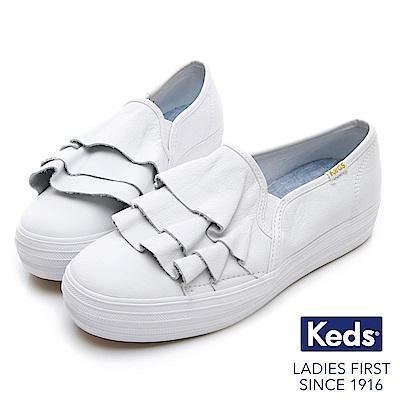 Keds TRIPLE RUFFLE 皮革荷葉休閒鞋-白