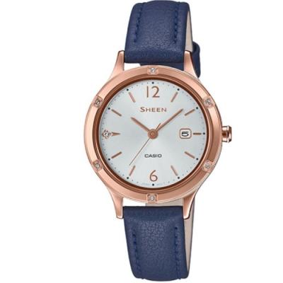 SHEEN 簡約動人藍寶石玻璃設計皮帶腕錶-藍(SHE-4533PGL-7B)/36.7