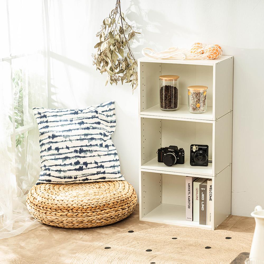 樂嫚妮 DIY 日式 收納櫃/空櫃/書櫃-純白色3入組-42X28.2X28.8cm