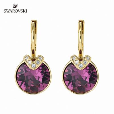 施華洛世奇 Bella 淡金色魅力炫彩圓形紫寶石穿孔耳環