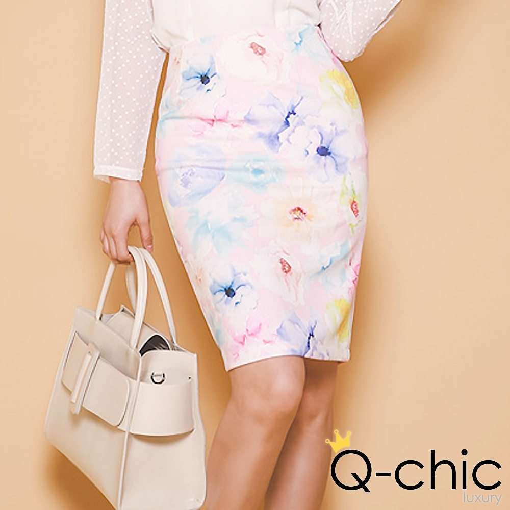 正韓 韓系水彩暈染花朵及膝窄裙(粉色)-Q-chic
