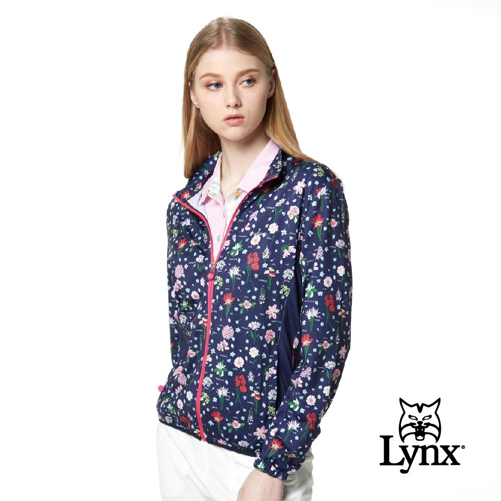 【Lynx Golf】女款滿版花卉印花造型拉頭設計長袖外套-深藍色