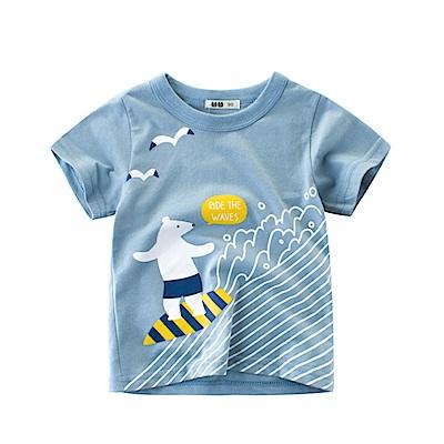 男童 中小童 歐美風格舒柔棉短袖T恤-北極熊衝浪