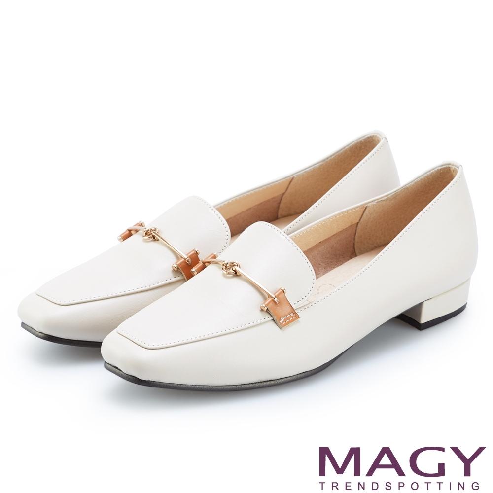 MAGY 氣質金屬釦真皮百搭 女 平底鞋 米色