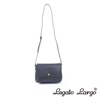 Legato Largo Lusso 別緻復古小金釦翻蓋斜背包 黑灰色