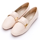 River&Moon樂福鞋-英倫紳士方頭造型平底樂福鞋 米杏 product thumbnail 1