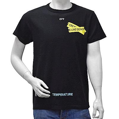 OFF-WHITE FIRETAPE條紋箭頭指示圖案棉質短袖圓領T恤(黑)