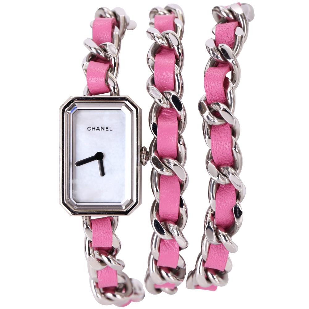 CHANEL H4312 Premiere Rock 桃紅色珍珠母貝三圈鍊錶