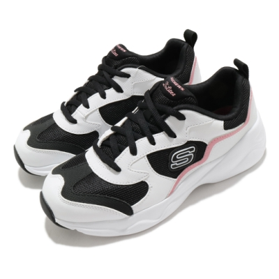 Skechers 休閒鞋 D Lites Airy 增高 老爹鞋 女鞋 記憶型泡棉鞋墊 舒適 透氣 修飾 白 黑 66666231WBPK